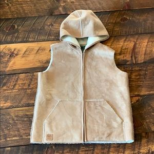 Faux suede Ralph Lauren hooded vest small